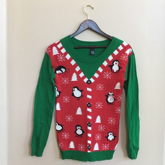 Christmas Sweaters Cute.Ugly Christmas Sweater Cute Penguins